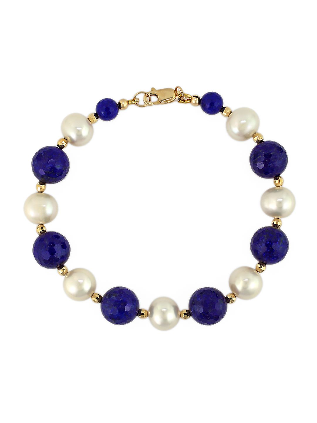 White Pearl, Lapis and 14K Yellow Gold Bracelet