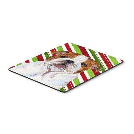 Bulldog English Candy Cane Holiday Christmas Mouse Pad, Hot Pad or -