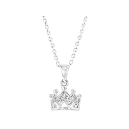 - 925 Sterling Silver Princess Crown Necklace Pendant Girls Kids Clear CZ 16