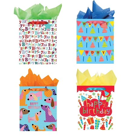 - All Occasion Party Gift Bags - Set of 4 Large Birthday Gift Bags w/Tags & Tissue Paper