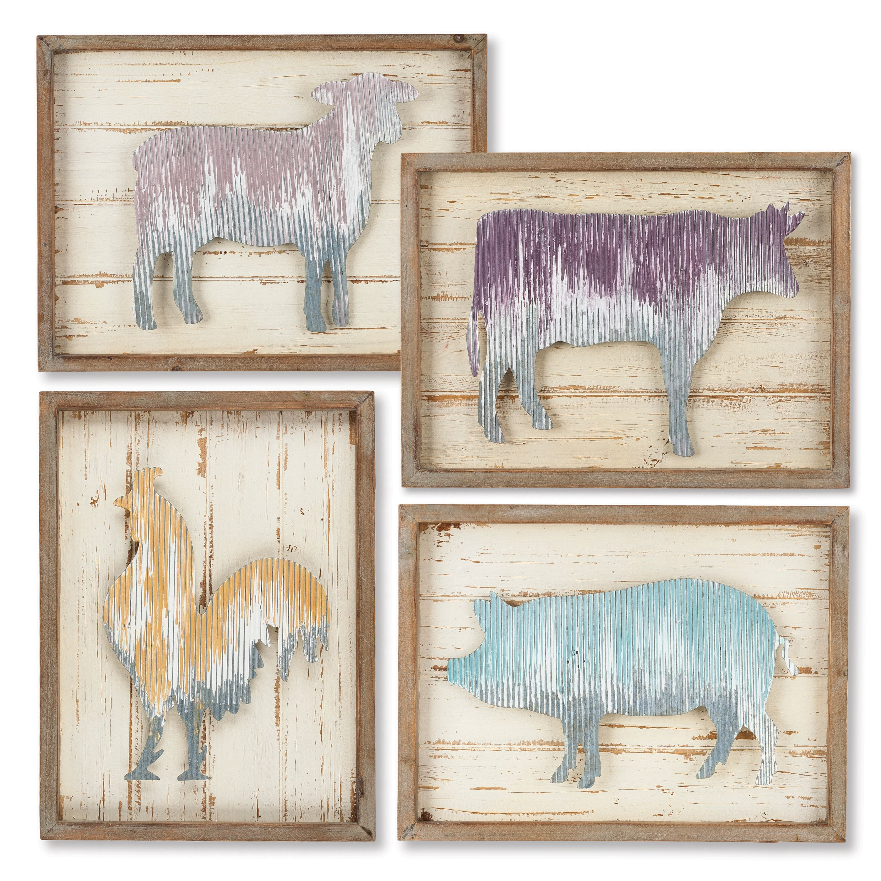 15.75-Inch Corrugated Farm Animal Wall Art Signs Framed in Wood in Pale Spice Market Colors (Set of 4)