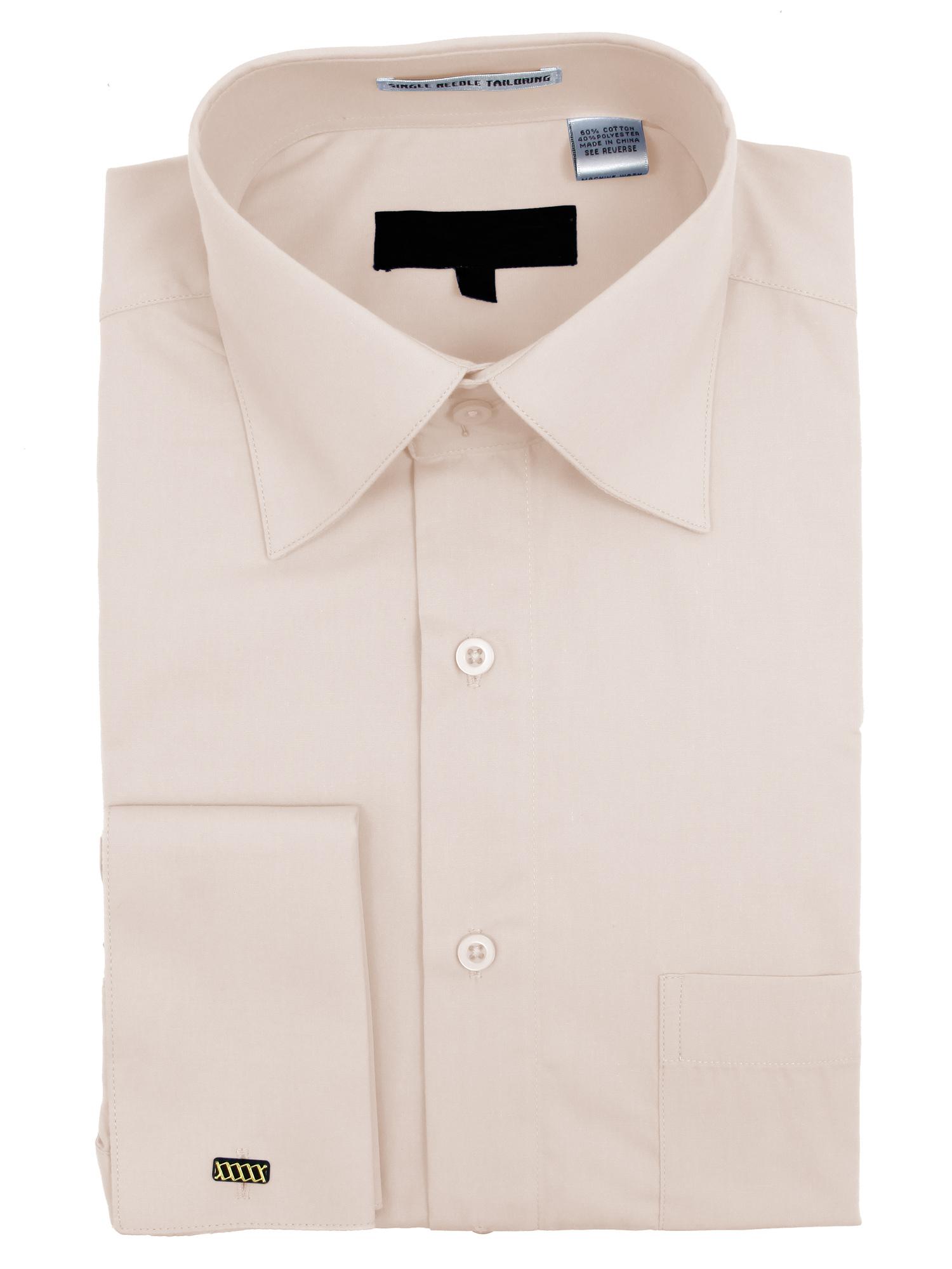 Men's Wrinkle Free Cotton Blend French Cuff Dress Shirts