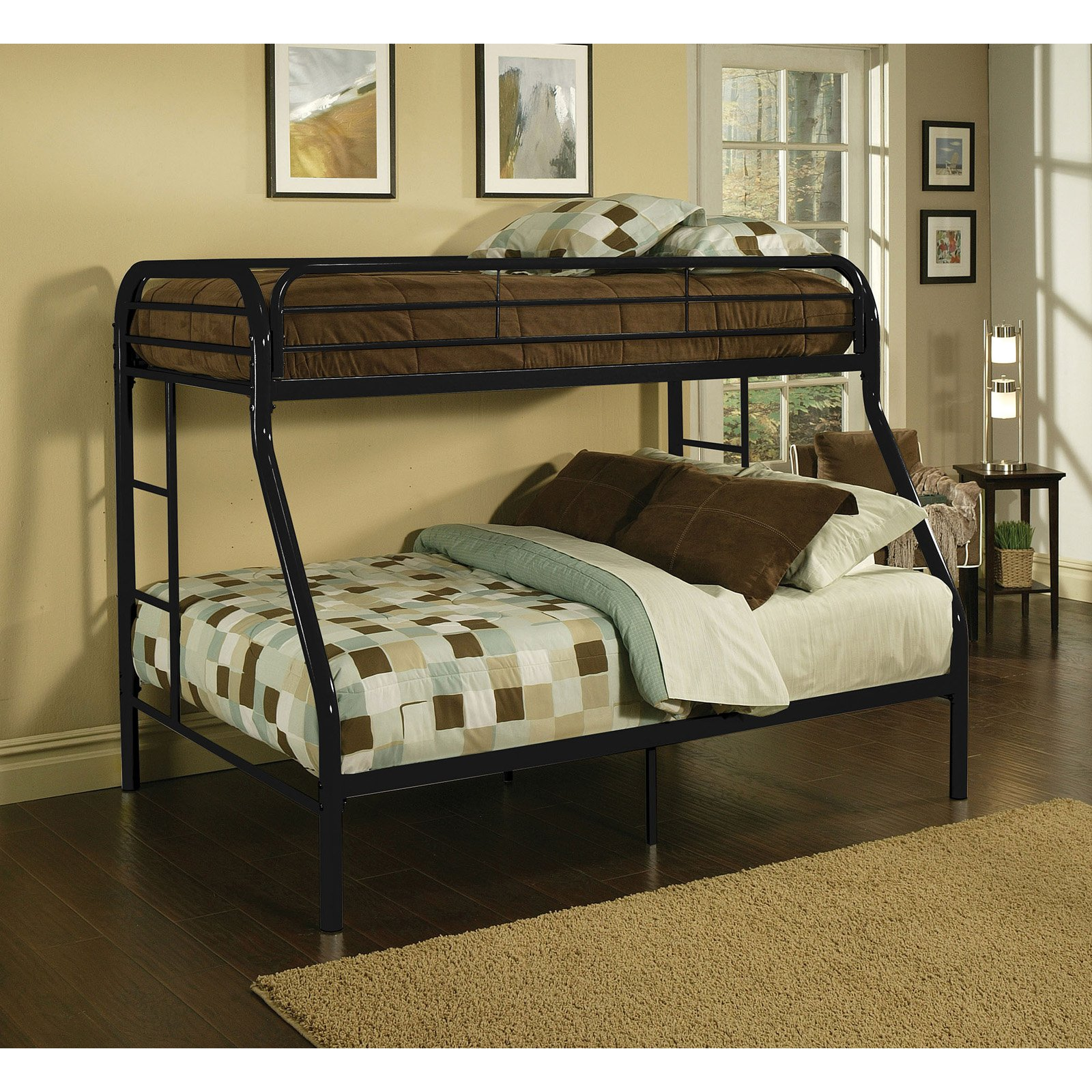 Acme Furniture Tritan Twin XL Over Queen Metal Bunk Bed, Black by Acme Furniture