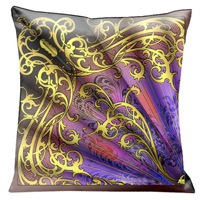 Lama Kasso 200-2 Incredibly Beautiful Purple, Pink and Gold Parisian Fan Reminiscent of Musical Notes 18 in. Square Satin Pillow