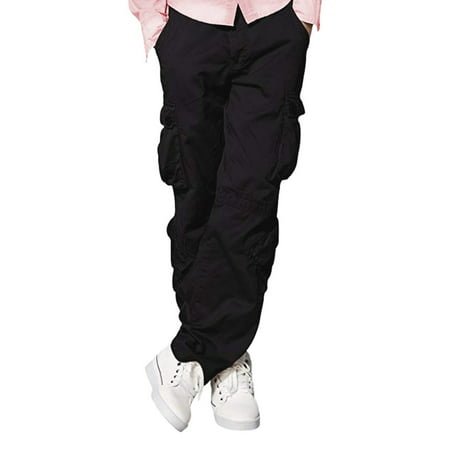 Woven Mens Trousers (Mens Casual Wild Cargo Pants Multi Pockets 100% Cotton)
