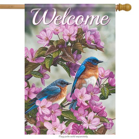 Birds in Blue House Flag Decorative Spring Floral 28