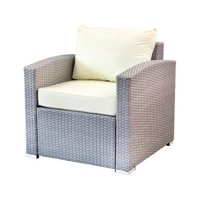 SK New Interiors Outdoor Patio Lounge Chair w/cushion Garden Furniture Yard Resin Modern Design, Gray
