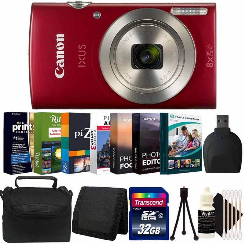 Canon Ixus 185 / Elph 180 20MP Digital Camera Red with Photo Software Accessory Kit