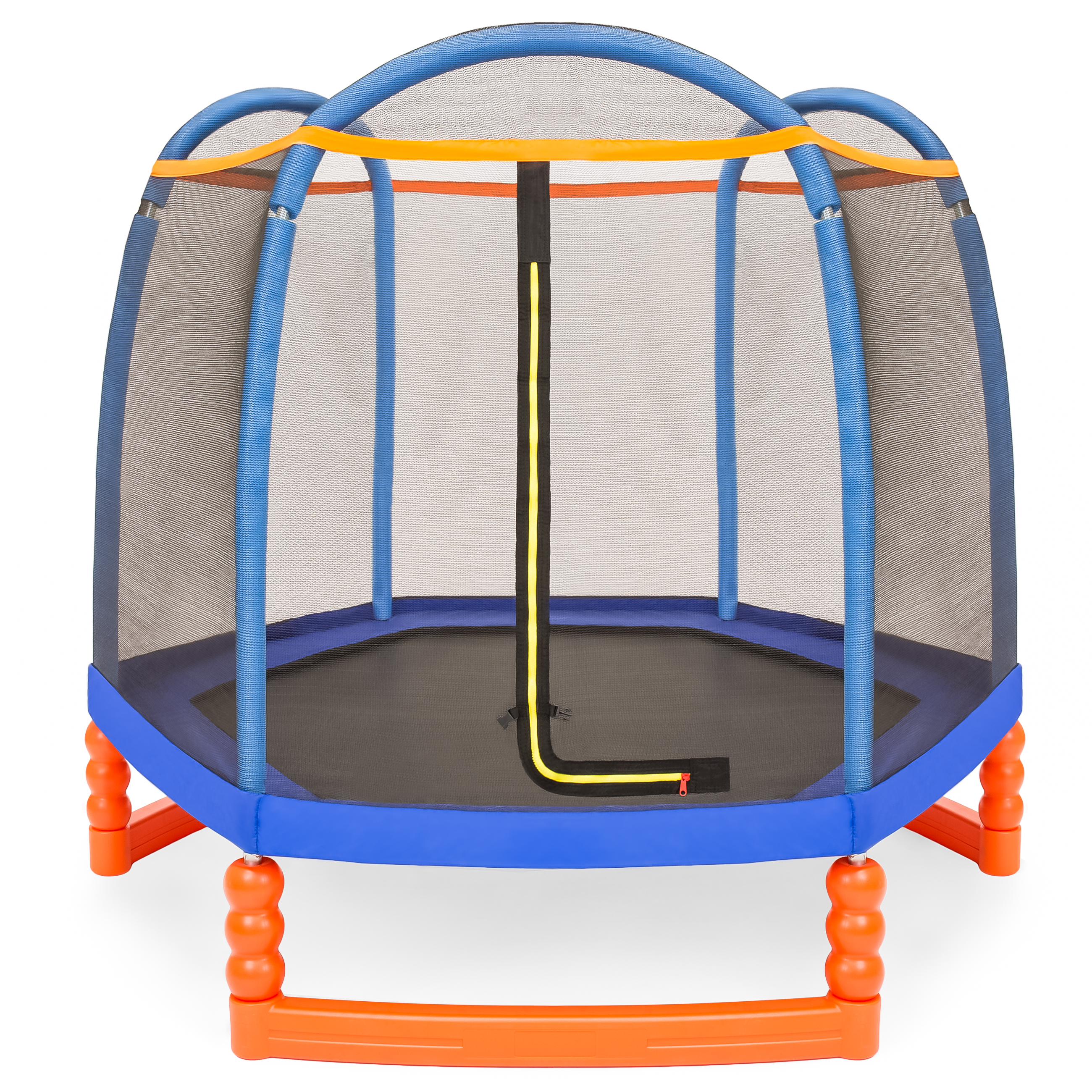 Best Choice Products 7ft Kids Outdoor Round Mini Trampoline w/ Enclosure Safety Net Pad, Built-In Zipper, Heavy-Duty Metal Frame - Multicolor