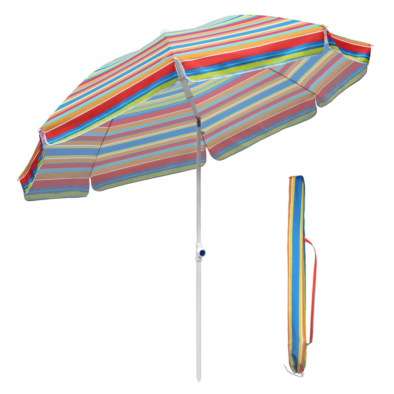 Sekey 7ft Beach Umbrella Outdoor Umbrella Patio Umbrella Market Umbrella with tilt and crank, 100% polyester, Sunscreen UV 25+, Round