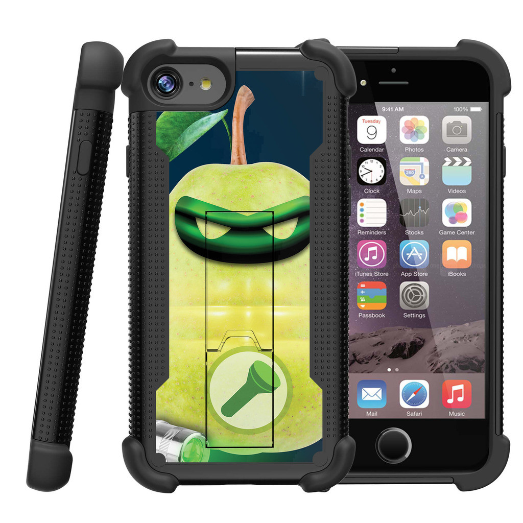 "Apple iPhone 7 4.7"" Shockwave Armor Dual Layer Kicsktand Case - Green Pear Lantern"