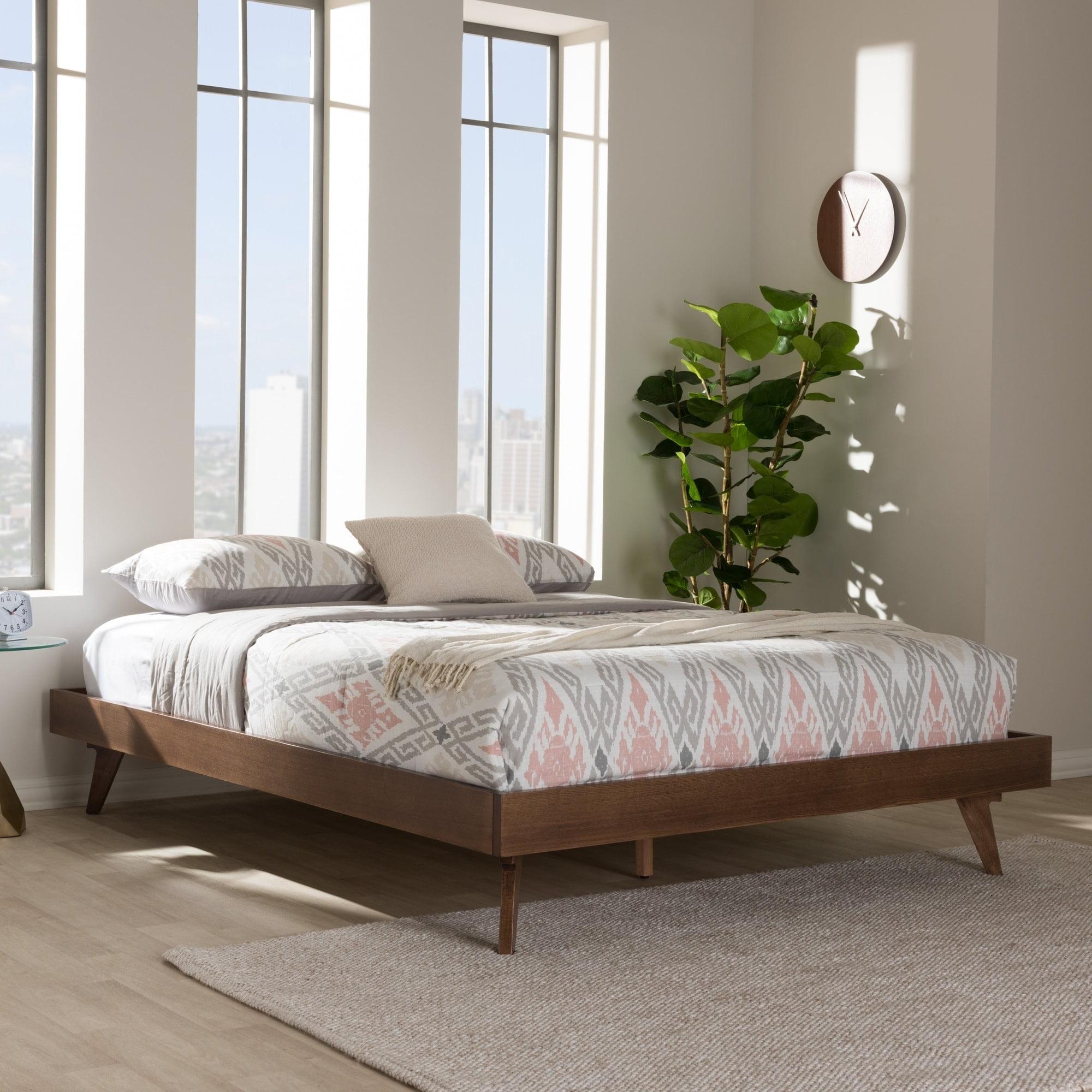 Baxton Studio Mid-Century Walnut Brown Wood Bed Frame by