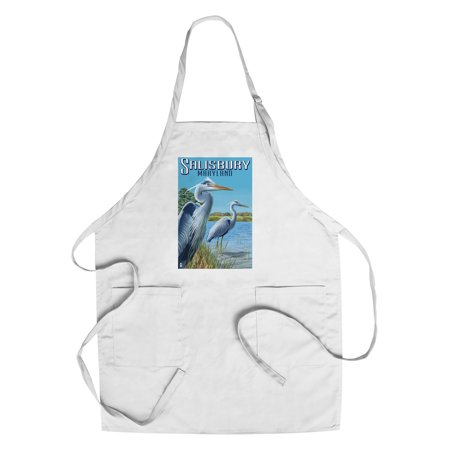 Blue Heron - Salisbury, Maryland - Lantern Press Poster (Cotton/Polyester Chef's Apron) - Party City Salisbury Maryland