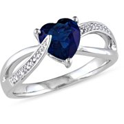 1-7/8 Carat T.G.W. Created Blue Sapphire and Diamond-Accent Sterling Silver Cross-Over Heart Ring