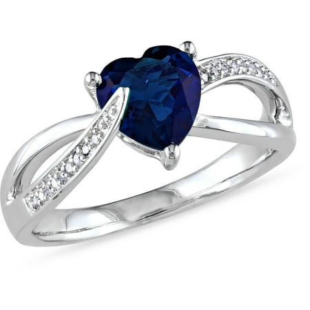 1-7/8 Carat T.G.W. Created Blue Sapphire and Diamond-Accent Sterling Silver Cross-Over Heart Ring ()