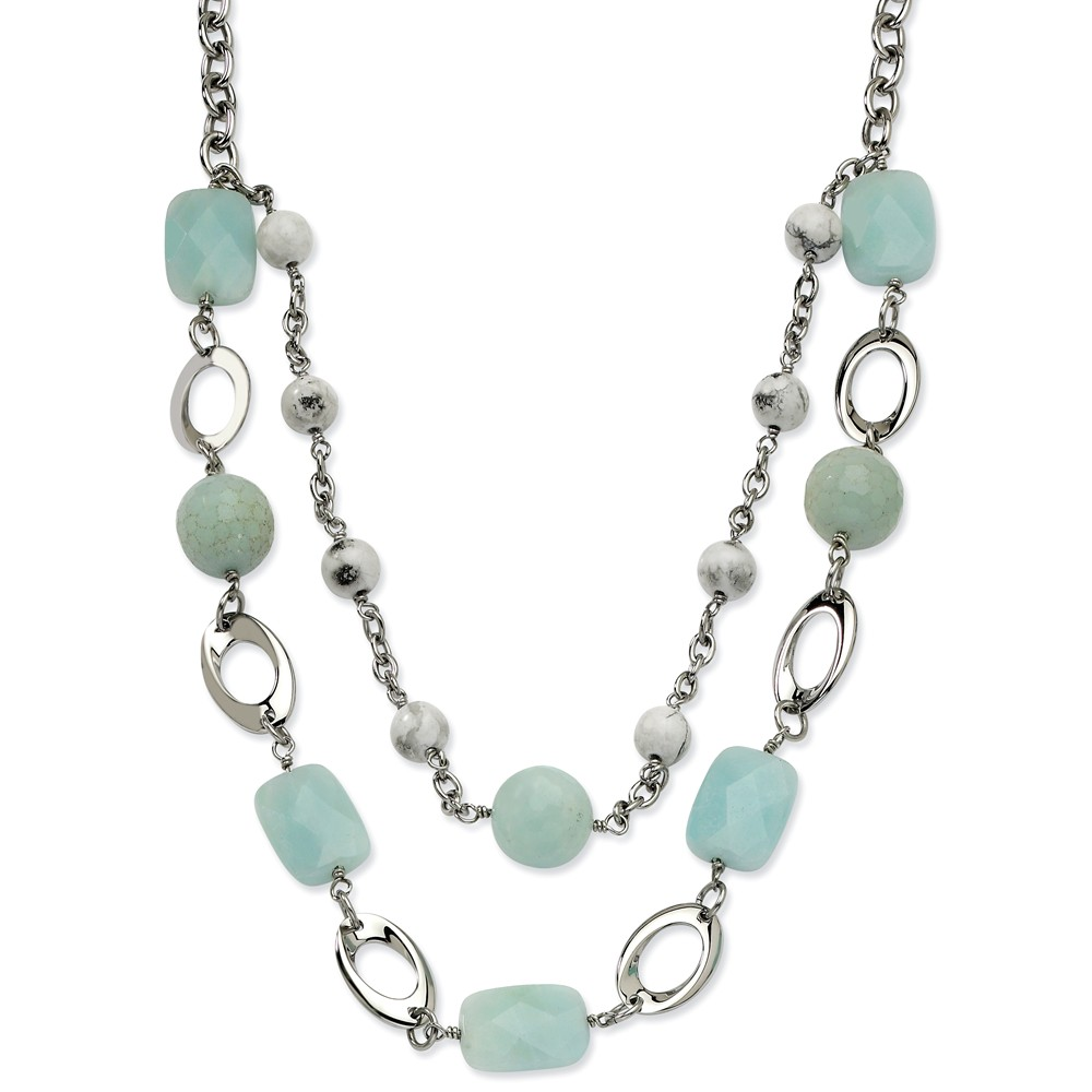 Stainless Steel Blue Quartz 28 w/ 2in ext Multi Strand Necklace