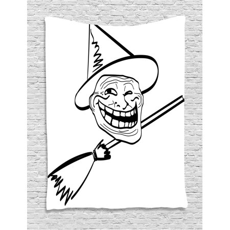 Humor Decor Tapestry, Halloween Spirit Themed Witch Guy Meme Lol Joy Spooky Avatar Artful Image, Wall Hanging for Bedroom Living Room Dorm Decor, 40W X 60L Inches, Black White, by Ambesonne (Halloween Meme Generator)