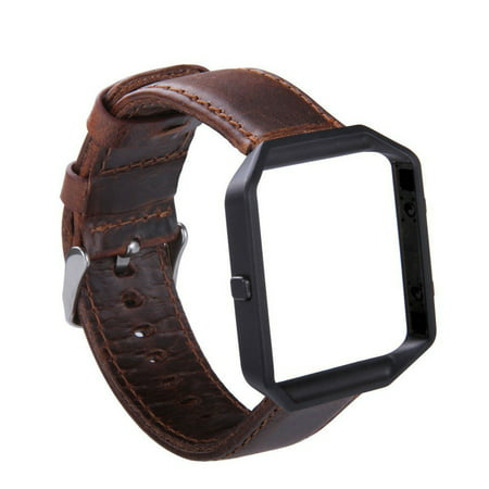 Fitbit Blaze Watch Band, Mignova Genuine Leather Replacement Wrist band  strap with Stainless Steel Frame for Fitbit Blaze Smart Fitness Watch (Dark