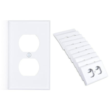 Cable Matters (10-Pack) Duplex Outlet Single Gang Wall Plate Cover in (Hole 2 Gang Aluminum Outlet)