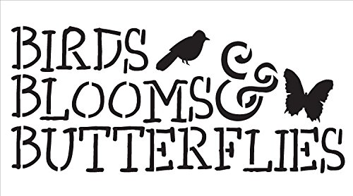 "Birds, Blooms and Butterflies Word Stencil -9"" X 5"" by Studio R 12"