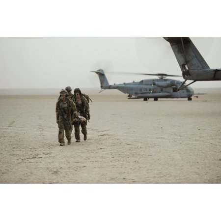 Framed Art For Your Wall U S  Air Force pararescuemen cross-load simulated  casualties off a MH-53 from Marine heavy helicopte 10x13 Frame