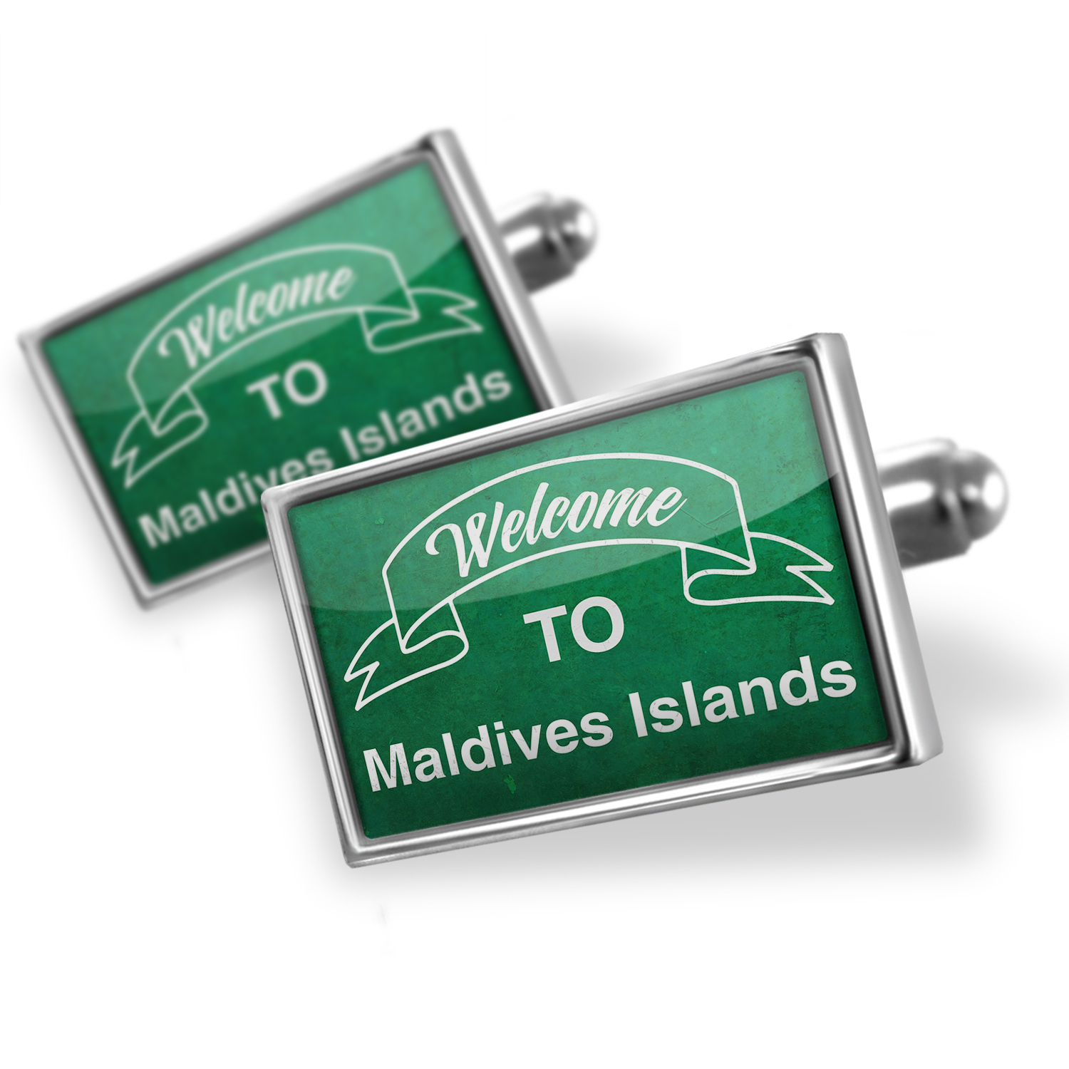 Cufflinks Green Sign Welcome To Maldives Islands - NEONBLOND