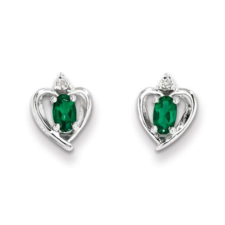 Sterling Silver Rhodium-plated Created Emerald & Diam. (Best Quality Emerald Price)