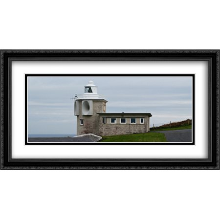 Bull Point Lighthouse, UK 2x Matted 40x22 Large Black Ornate Framed Art Print by The Cityscape Art Print Series