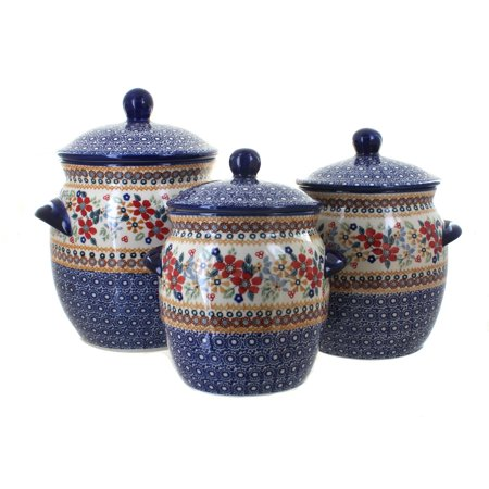 Blue Rose Polish Pottery Red Daisy 3 Piece Canister Set (Navajo Pottery)