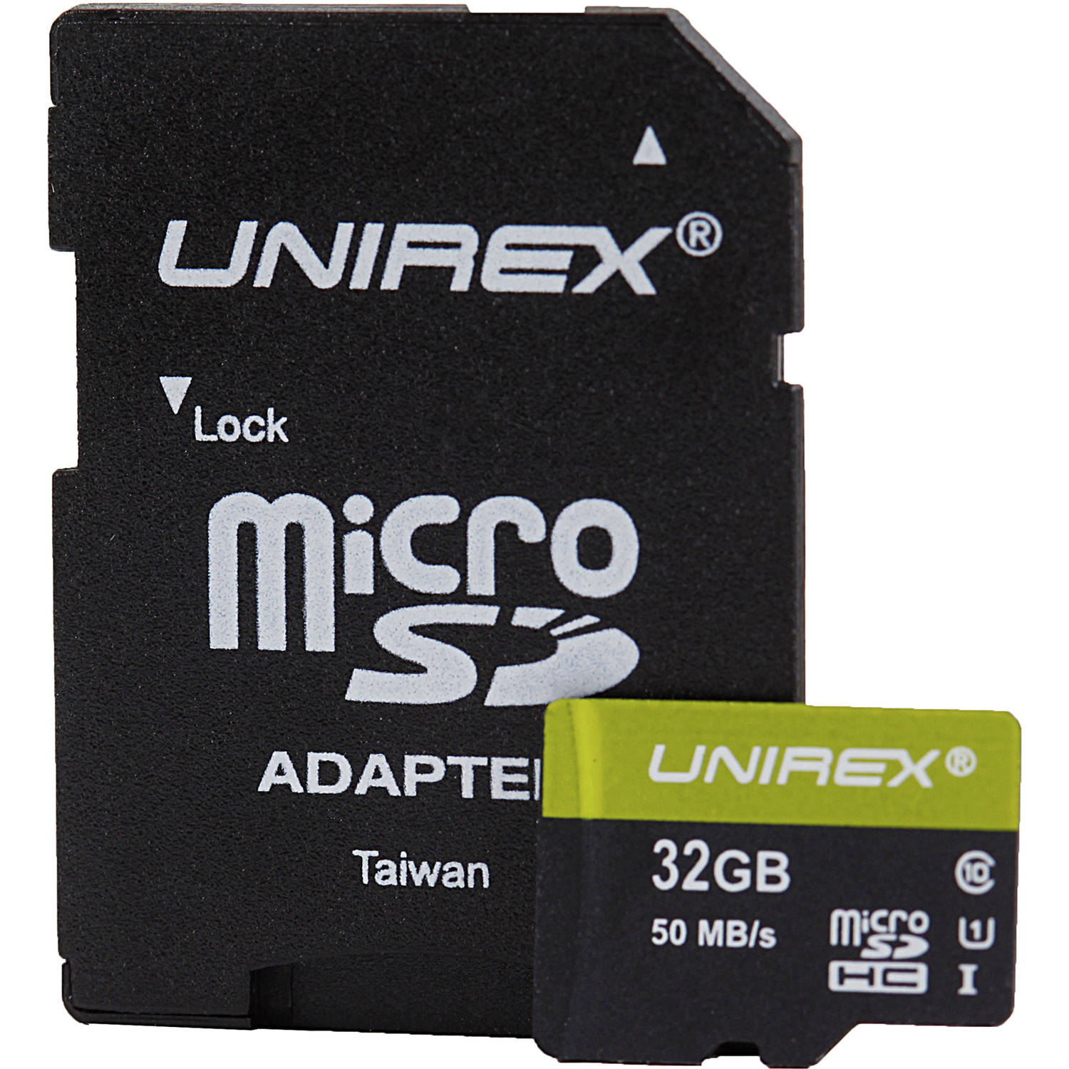 Unirex 32GB C10 UHS-1 microSD Memory Card with SD Adapter