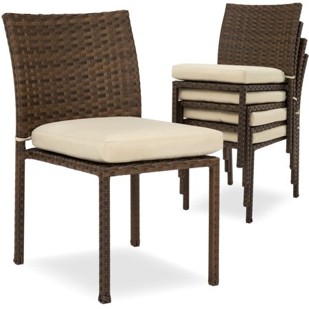 Best Choice Products Set of 4 Stackable Outdoor Patio Wicker Chairs w/ Cushions, UV-Resistant Finish, and Steel Frame, Brown ()