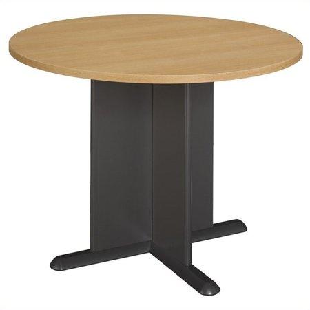 Bush Business Round 3.4 Conference Table Light Oak and Gray