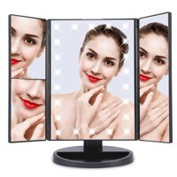Qiilu LED Makeup Mirror Tri-Fold 22 LED Lights 2X 3X Magnification Touch Screen with 10X Magnification Spot Mirror Portable Cosmetic Table Mirror Vanity Mirror (Black)