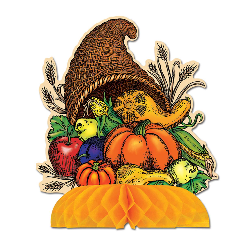 Club Pack of 12 Fall Thanksgiving Cornucopia Table Center...