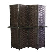 "Espresso Brown Paper Straw Weave W/ One 63""L Shelving 4 Panel Screen , Handcrafted"