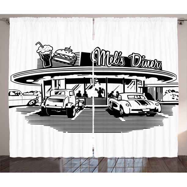 1950s Decor Curtains 2 Panels Set Nostalgic Illustration Of Retro Diner Restaurant With Vintage Cars Back Then In Fifties Living Room Bedroom Accessories By Ambesonne Walmart Com