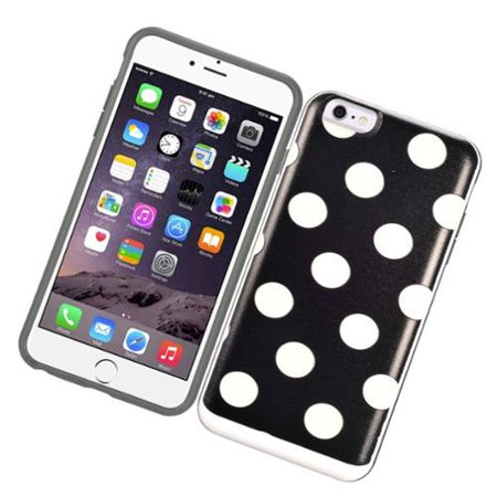 Insten Polka Dots Hard Dual Layer Case with card slot holder For iPhone 6s Plus / 6 Plus - Black/White