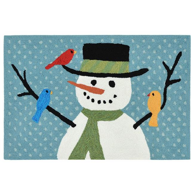 Trans Ocean FTP12186503 Frontporch 1865-03 Snowman & Friends Hand Tufted Everywear Rug, Blue - 20 x 30 in. - image 1 of 1