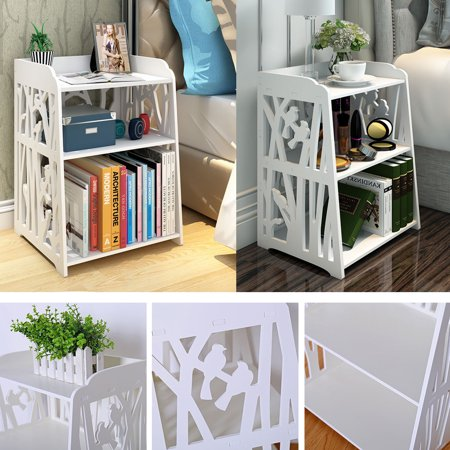 Hollow Carved Retro Bedside Table Cabinet Storage Bedside Nightstand Table Bedroom Living Room Furniture ()