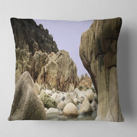 DESIGN ART Designart 'Smooth Rocks in Coastline Panorama' Landscape Printed Throw Pillow