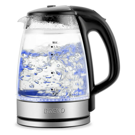 (BREVO Double Wall Safe Touch Cordless Electric Glass Kettle with LED Blue Light)