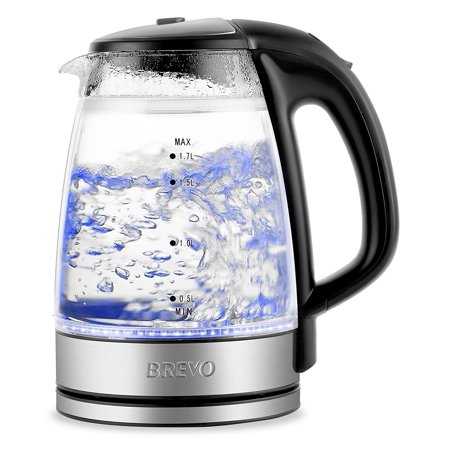 BREVO Double Wall Safe Touch Cordless Electric Glass Kettle with LED Blue Light