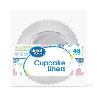 Great Value Cupcake Liners, Silver, 48 Count