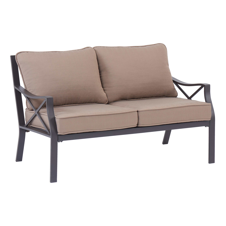Mainstays Sandhill 2-Piece Patio Loveseat Set with Mocha Cushions