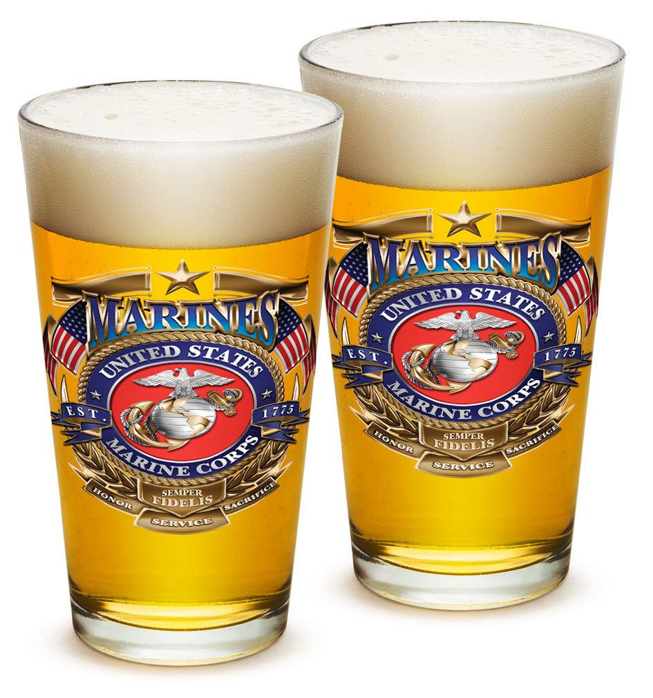 Pint Glasses – US Marine Corps Gifts for Men or Women – USMC Badge of Honor Beer Glassware – Beer Glasses with Logo - Set of 2 (16 Oz)