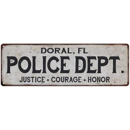 DORAL, FL POLICE DEPT. Home Decor Metal Sign Gift 6x18