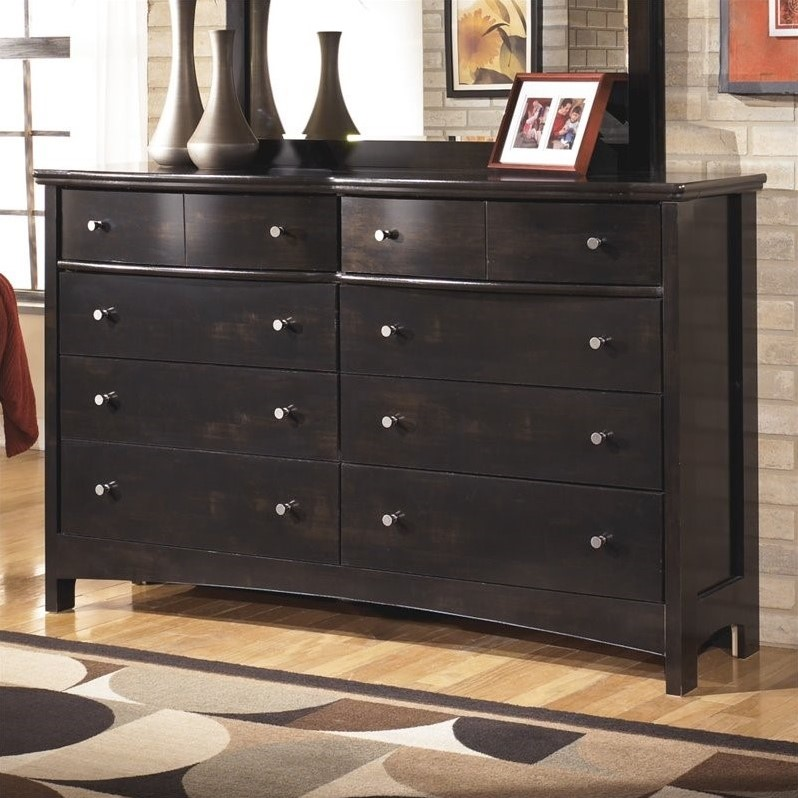 Ashley Harmony 8 Drawer Wood Double Dresser in Dark Brown