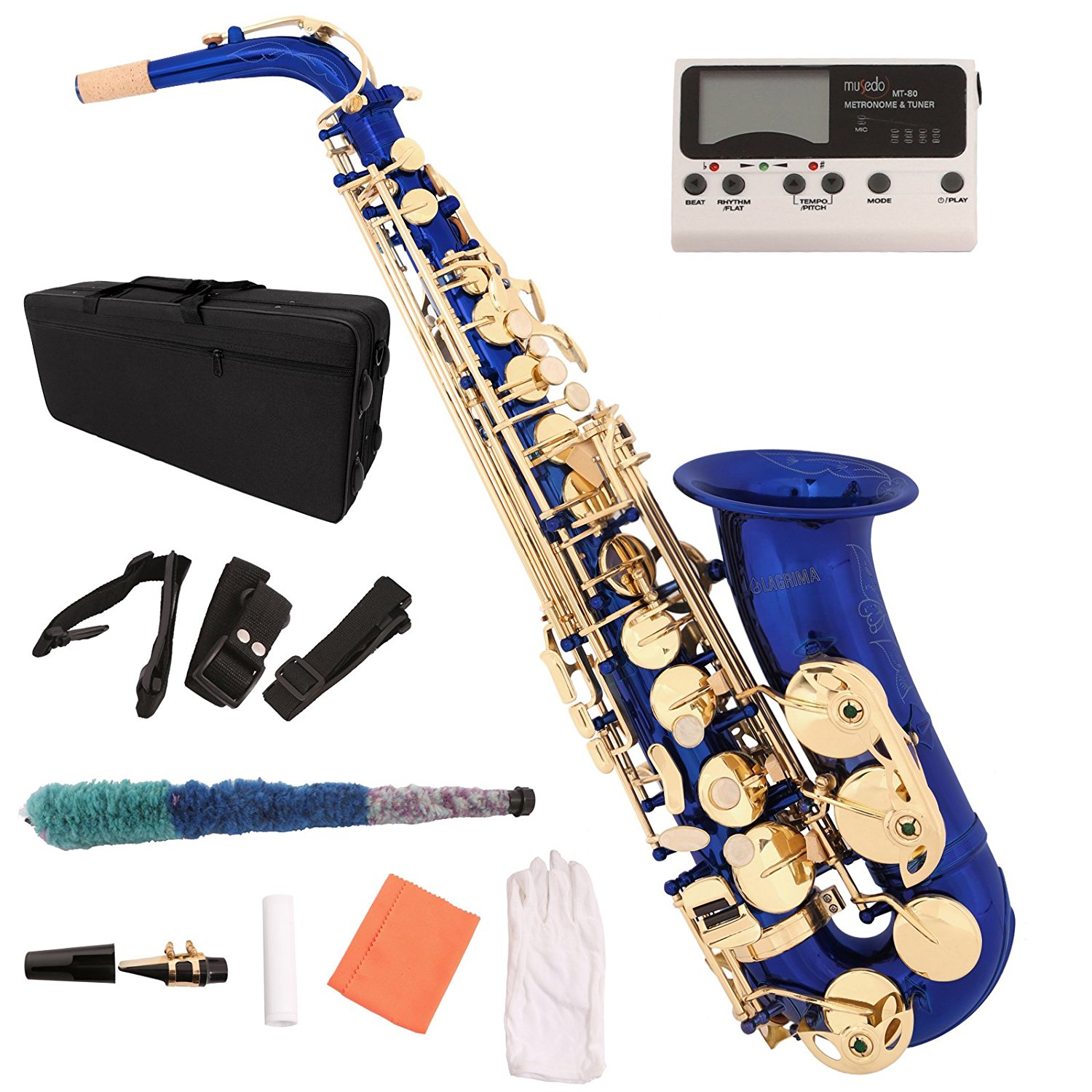Blue Lacquer Brass Eb 2 Tone Alto Saxophone Sax w Tuner Case Carekit Accessories by Uenjoy