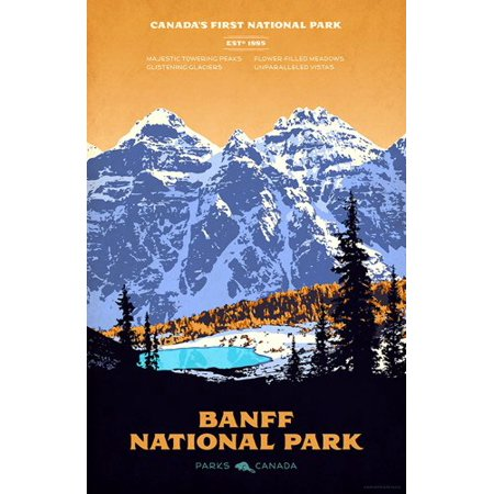 Banff Art Poster Sticker Decal(rv national park hike canada) Size: 3 x 5