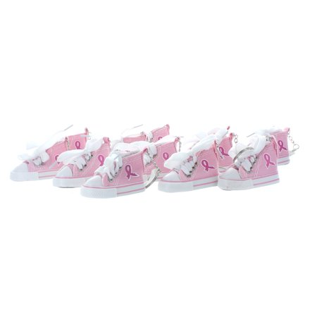 12 Pink Ribbon Breast Cancer Awareness Sneaker Tennis Shoe Chucks Keychain